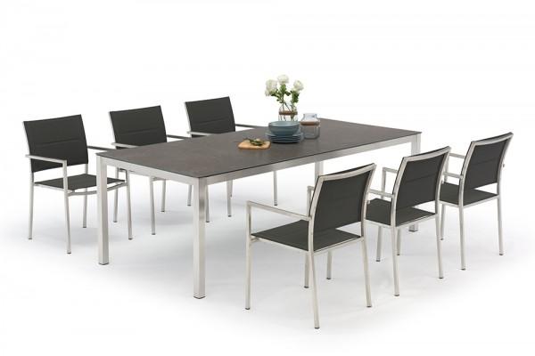 Ensemble de table Jenna 220 – 6 chaises Mason noir