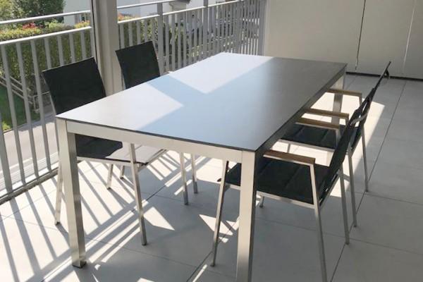 Jenna garden table set 180 - 4 chairs Lamaira in black