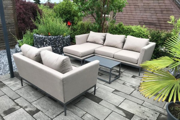 Galaxy 2-seater sofa in sand brown with coffee table