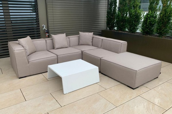 Agnes garden lounge made of fabric in sand brown