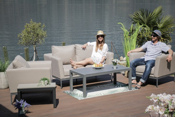 Galaxy garden lounge set in sand brown