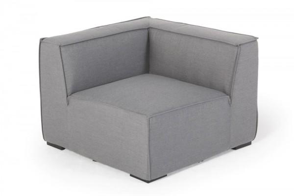 Corner piece made with Sunbrella fabric in grey