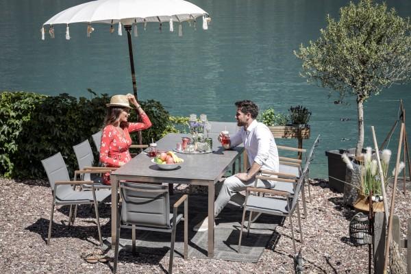 Table à manger Jenna 220 - 8 chaises Lameira en gris
