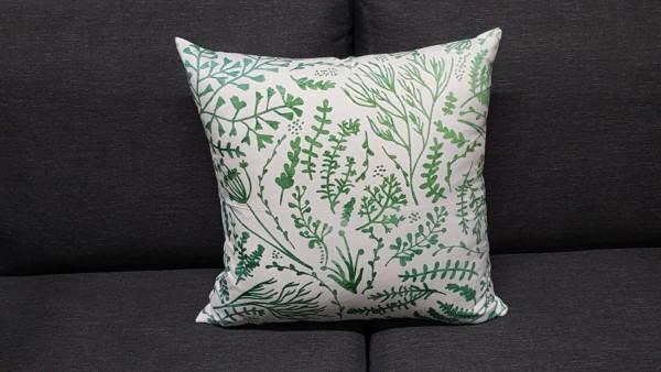 Coussin décoratif herbes aromatiques en vert