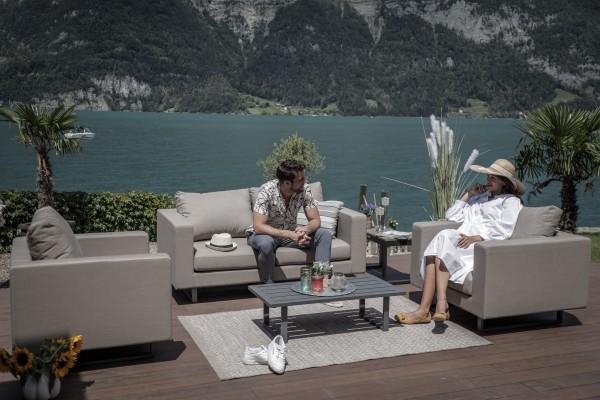 Jersey outdoor sofa set in sand brown