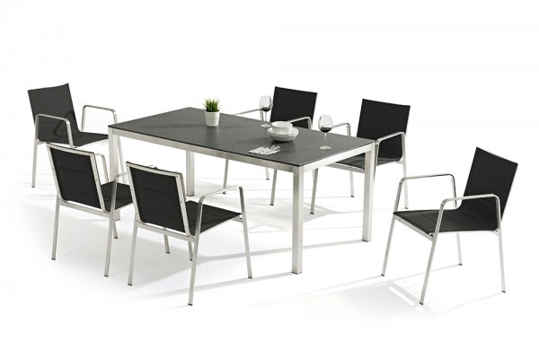 Jenna table set 180 - 6 Lalena chairs in black