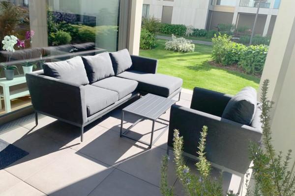 Brooks Outdoor Sofa + 1 Sessel in Anthrazit