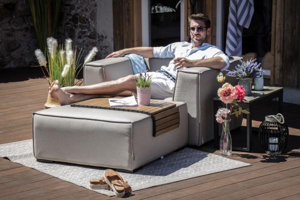 Executive chair + Big Sunbrella stool in sand brown