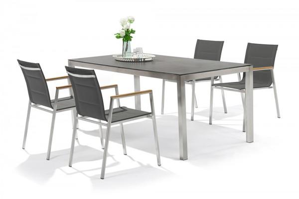 Ensemble de tables de jardin Jenna 180 – 4 chaises Lamaira en gris