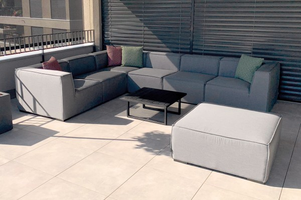 Lounge de jardin Bormeo en gris