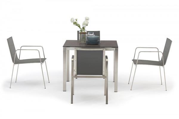 Ensemble de tables de jardin Jenna 90 – 4 chaises Lalena en gris