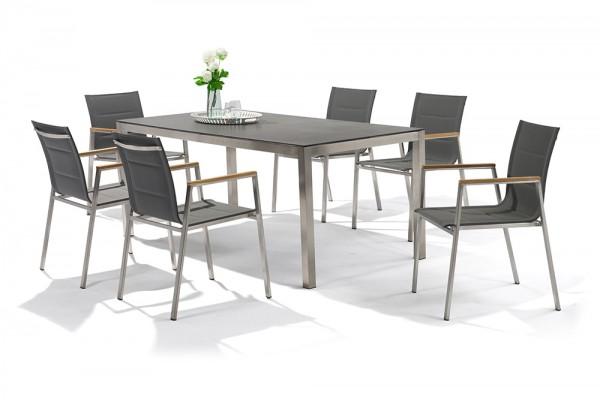 Jenna Gartentisch Set 180 – 6 Stühle Lamaira in Grau