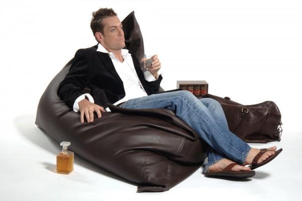 Loungepillow en cuir brun 180 x 140 cm