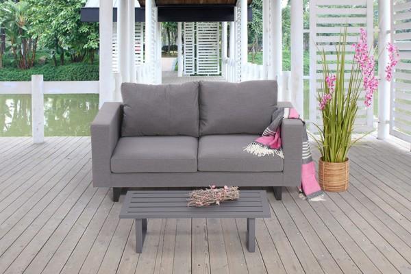 Lounge de jardin Andorra 2 places en gris