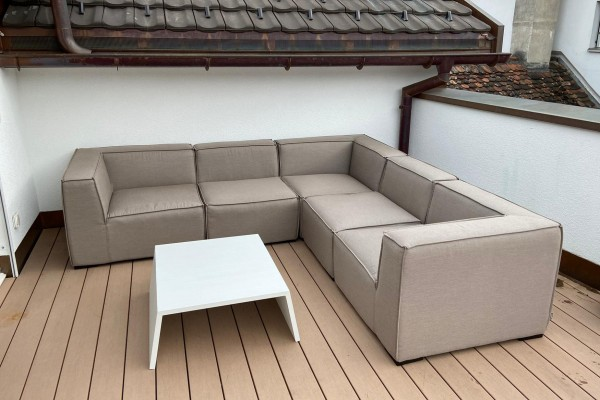 Selma garden lounge in sand brown