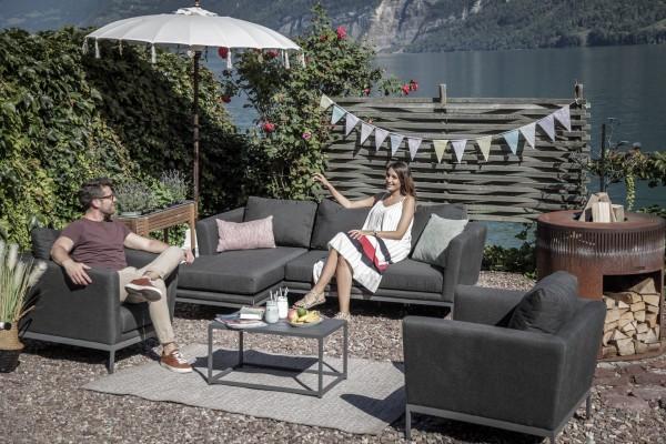 Canapé d'extérieur Brooks + 2 fauteuils en anthracite