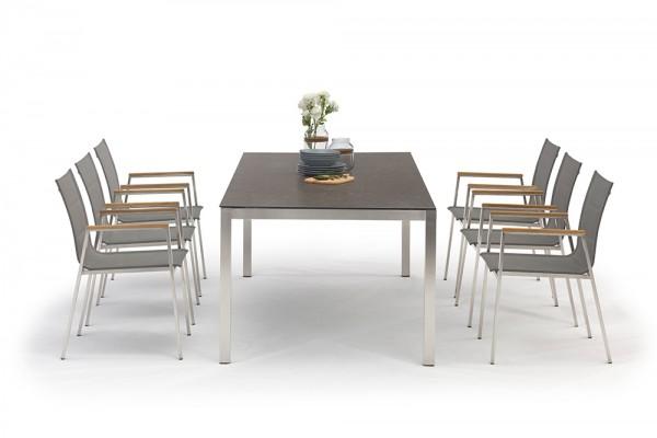 Jenna garden table set 220 - 6 chairs Lamaira in grey