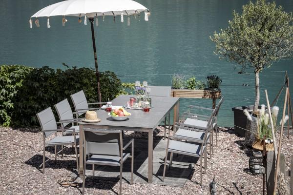 Table à manger Jenna 220 - 8 chaises Mason en gris