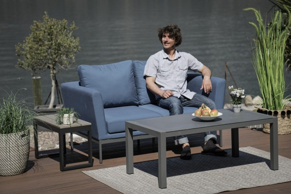 Galaxy 2-seater sofa in bluestorm with coffee table