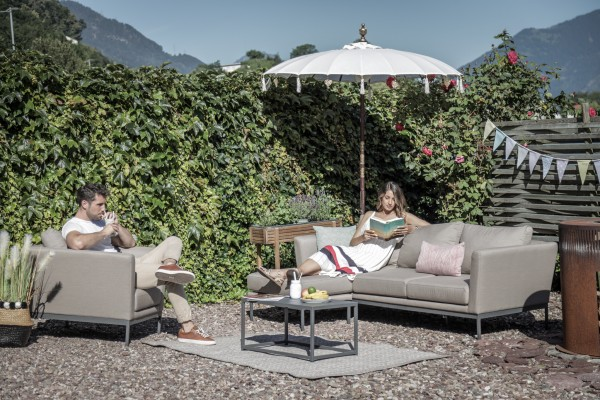 Brooks outdoor sofa + 1 armchair in sand brown