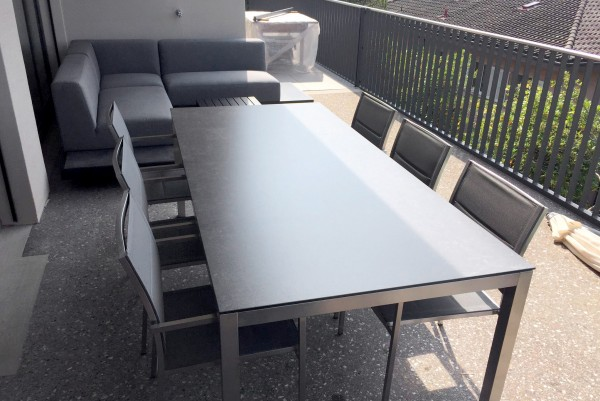 Jenna table set 220 - 6 Mason chairs in grey