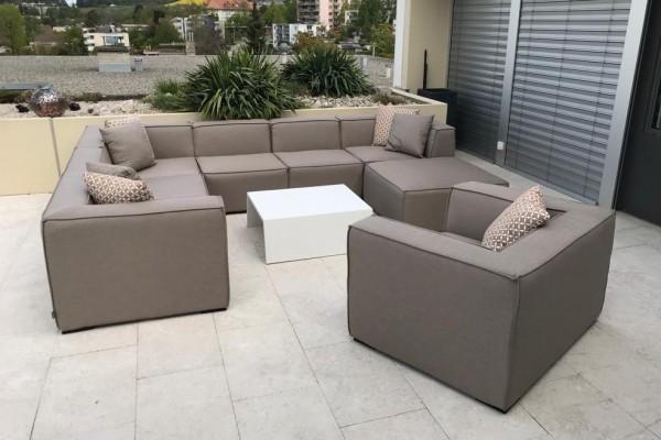 Bormeo Deluxe weatherproof lounge in sand brown