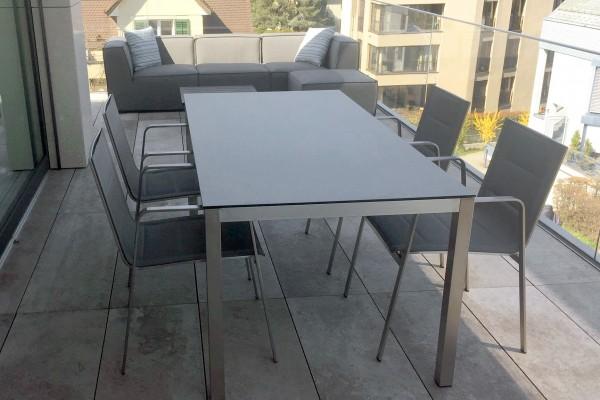 Ensemble de tables de jardin Jenna 180 – 4 chaises Lalena en gris