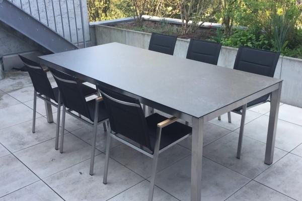 Ensemble de tables de jardin Jenna 220 – 6 chaises Lamaira en noir