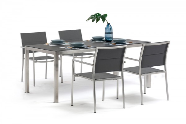 Jenna dining table 180 - 4 Mason chairs in grey