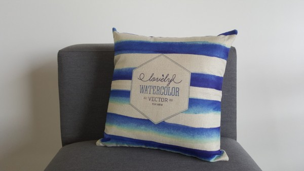Decorative pillow, watercolour striped