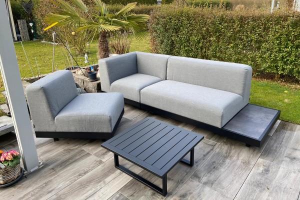Lounge de jardin Sacramento à gauche en gris
