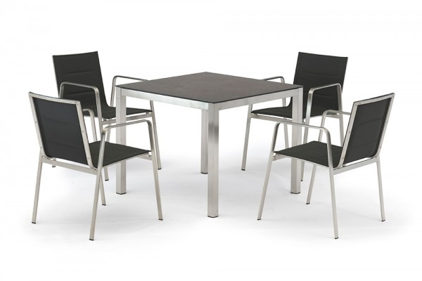 Jenna table set 90 - 4 Lalena chairs in black