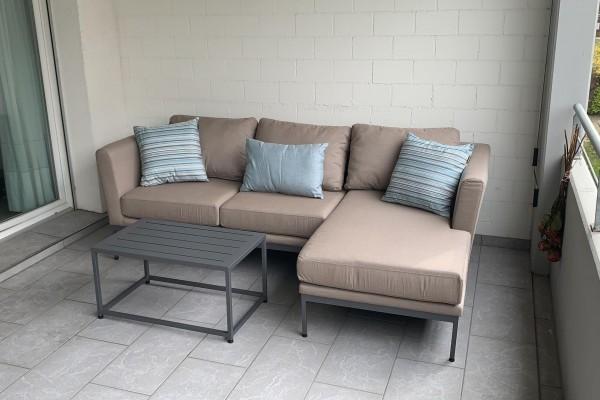 Brooks garden lounge, left, sand brown