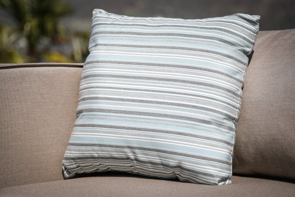 Outdoor decorative pillow made with Sunbrella in blue stripes
