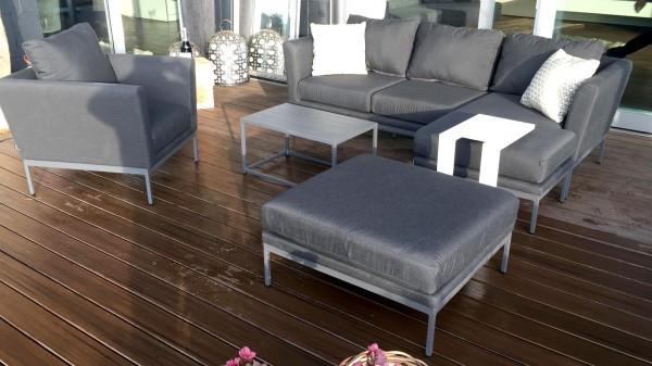 Canapé d'extérieur Brooks + 1 fauteuil en anthracite