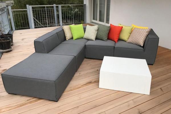 Agnes Garten Lounge aus Stoff in Grau