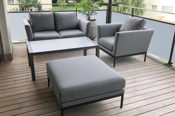 Ensemble de lounge de jardin Galaxy en tissu gris