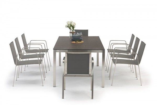Table à manger Jenna 220 - 8 chaises Lalena en gris