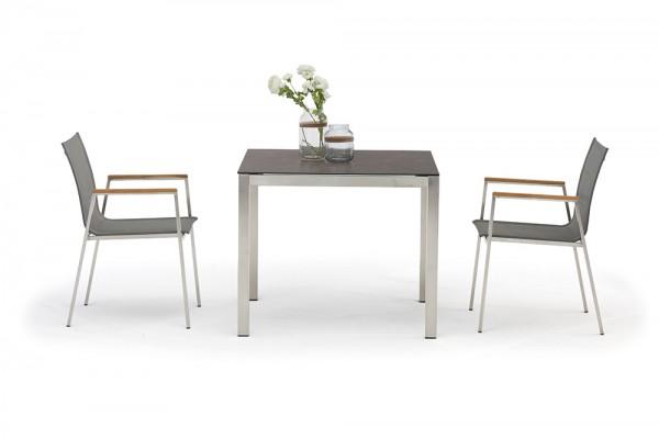 Ensemble de tables de jardin Jenna 90 – 2 chaises Lamaira en gris