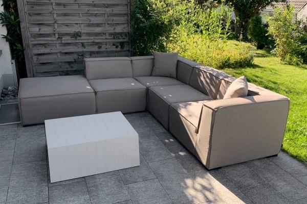 Agnes Garten Lounge aus Stoff in Sandbraun