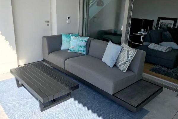 Memphis outdoor sofa, left-hand version, in grey