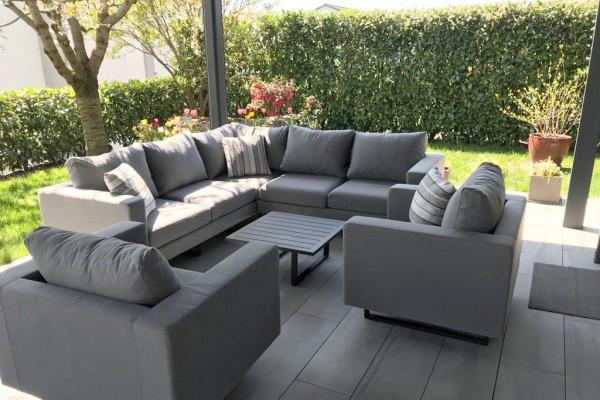 Lounge de jardin Melody Deluxe en gris