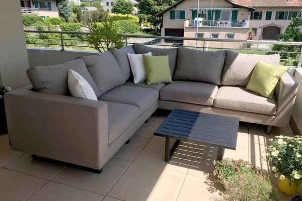 Melody corner garden lounge in sand brown