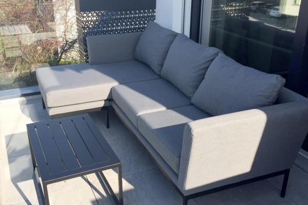 Brooks garden lounge, left-hand version, in grey
