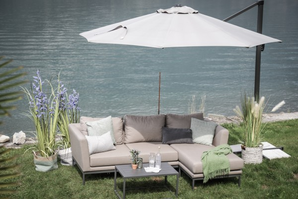 Brooks garden lounge, right-hand version, in anthracite