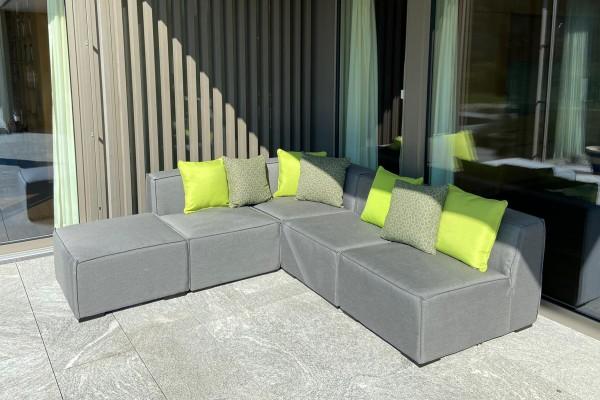 Coussin décoratif d'extérieur en tissu Sunbrella pois verts