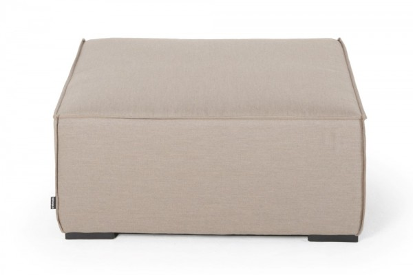 Big footstool made with Sunbrella fabric in sand brown