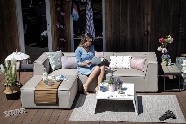 Emma garden lounge in sand brown