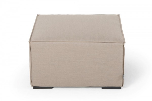 Small footstool made with Sunbrella fabric in sand brown