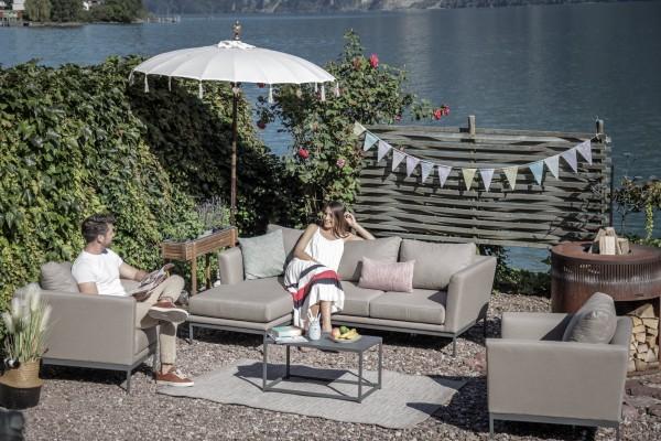 Brooks Outdoor Sofa + 2 Sessel in Sandbraun
